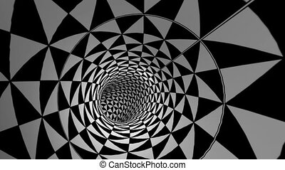 Tunnel With Spinning Black and White Triangles