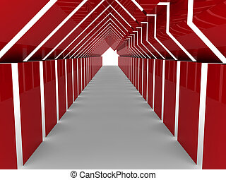 tunnel, woning, rood, 3d