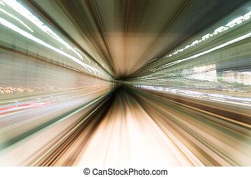 tunnel, zug, bewegen