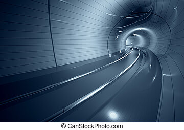 tunnel., zukunftsidee, metro