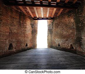 tunnelausfahrt, licht, zimmer, dunkel, ausgang