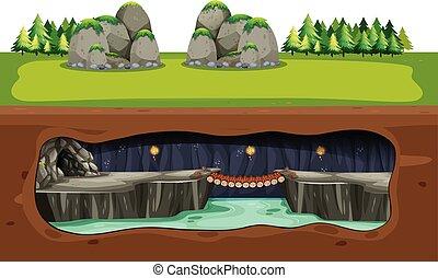 tunnelbana, grotta, och, bro