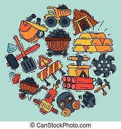 tunnelbana, mönster, illustration., utrustning, vektor, gruvarbetare, runda, machinery., operations., tools., gruvdrift, industri, yrke, kol, utrustning, speciell, occupation.