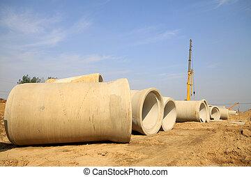 tunnelbana, rörledning, konstruktion, dränering