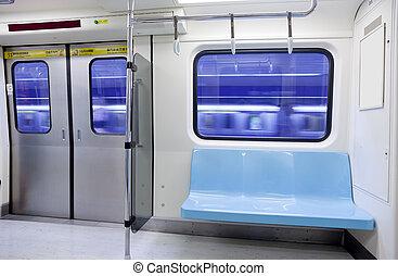 tunnelbana träna, tom, säte