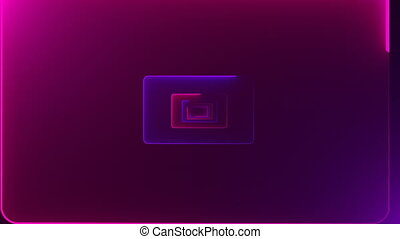 Tunnels with neon doors with bright illumination are in space, 3d computer generated background