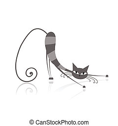 tuo, aggraziato, gatto grigio, disegno, strisce