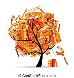 tuo, albero, design., libri, stagione, biblioteca, autunno