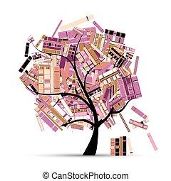 tuo, albero, design., libri, stagione, biblioteca, estate