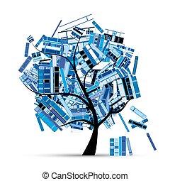 tuo, albero, design., libri, stagione, biblioteca, inverno