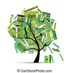 tuo, albero, design., libri, stagione, biblioteca, primavera