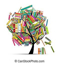 tuo, albero, disegno, libri, biblioteca