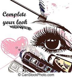 tuo, altro, cosmetico, occhio, fondo, moda, bello, completo...