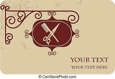 tuo, antico, parrucchiere, plase, -1, cartello, testo, ...