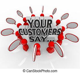 tuo, clienti, dire, soddisfazione, feedback, felicità,...