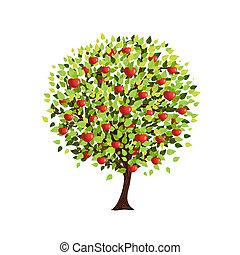 tuo, disegno, albero, mela, isolato