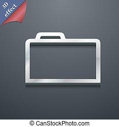 tuo, disegno, vettore, spazio, icona, 3d, cartella, simbolo., trendy, testo, moderno, style.