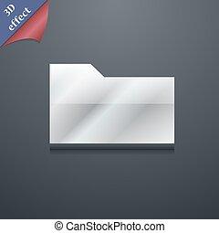 tuo, documento, vettore, disegno, spazio, icona, 3d, cartella, simbolo., trendy, testo, moderno, style.