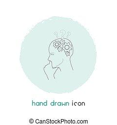 tuo, element., fondo, linea, design., pensare, isolato, mobile, web, app, pulito, illustrazione, critico, vettore, logotipo, icona