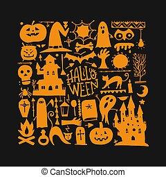 tuo, fondo, halloween, disegno
