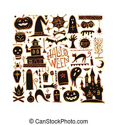 tuo, halloween, fondo, disegno