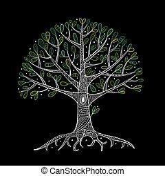 tuo, radici, albero, disegno