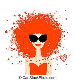 tuo, stile, ritratto, estate, donna, disegno, acconciatura, arancia