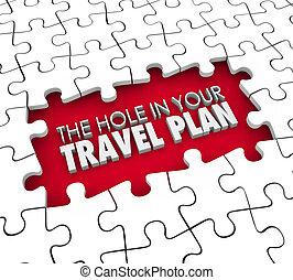 tuo, volo, mancante, viaggiare, albergo, divario, piano, buco, itiner, prenotazione