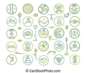 tuo, yoga, disegno, icone
