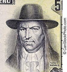 Tupac Amaru II on 50 Soles de Oro 1977 Banknote from Peru. Leader of the indigenous uprising in 1780 against the Spanish occupation.