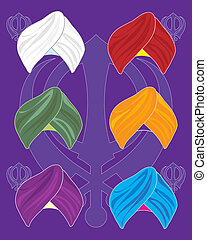 an illustration of colorful turbans on a purple background with sikh symbol background