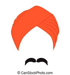 Vector illustration orange turban headdress and mustache isolated on white background. Sikh turban icon. Indian man character.