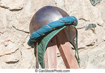 Turban hemispherical helmet, used by moorish armies during Reconquista period, 11-13th Century. Displayed on stand outdoors