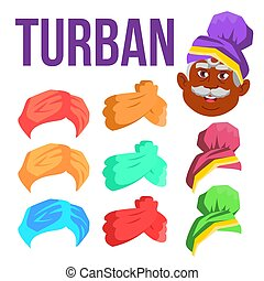 Turban Vector. Indian, Arabic Head Cap, Hat. Bedouin...