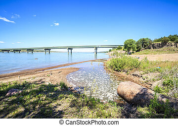 Turbid waters of Missouri river in South Dakota, USA