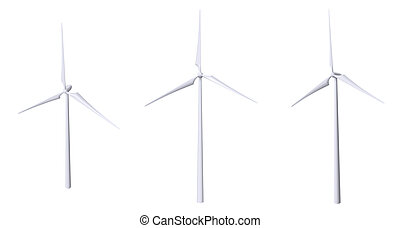 turbina, aislado, viento, 3d