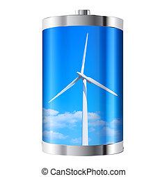 turbina, bateria, vento