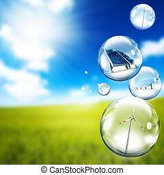 turbina, bolha, vento, painel solar