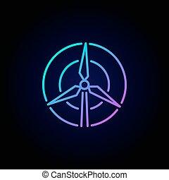 turbina, concetto, vento, colorito, icona