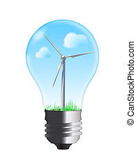 turbina del viento, en, bombilla