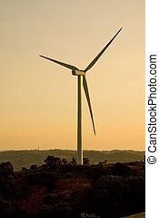turbina del viento, en, el, ocaso