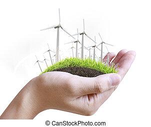 turbina del viento, en, mano