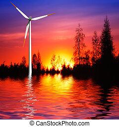 turbina del viento, en, ocaso