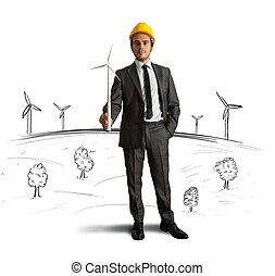 turbina del viento, energía, proyecto