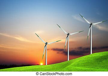 turbina del viento, granja, encima, ocaso