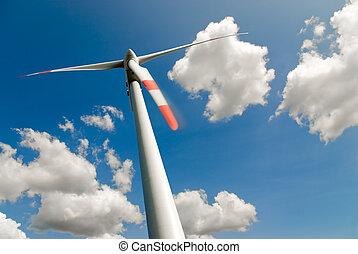 turbina del viento, y, nubes