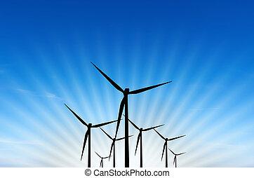 turbina, energia, vento