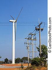turbina, energia vento, stazione, potere