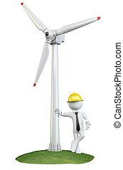 turbina, homem, vento, inclinar-se