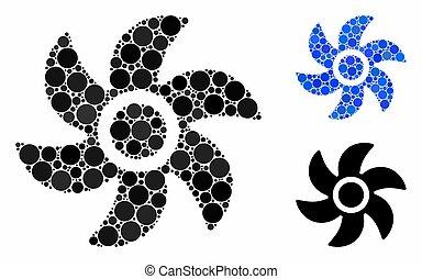turbina, icona, mosaico, cerchio, punti